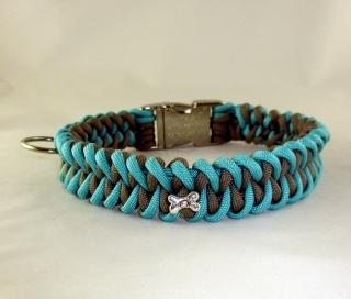 Hundehalsband Bones Halsband Hund geflochten Flechthalsband Paracord mit Klickverschluss Metallverschluss oder Kunststoffverschluss wahlweise Zugstopp - Handarbeit kaufen