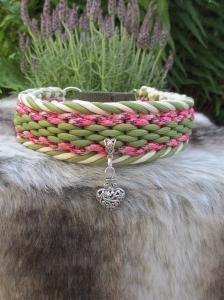 Hundehalsband Alpenglühen Halsband geflochten Flechthalsband mit Zugstopp