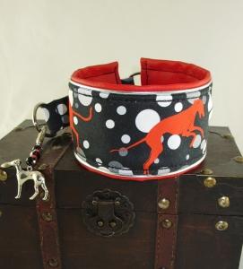 Windhundhalsband Playground/rot Hundehalsband Windhund Galgo Podenco Whippet mit Zugstopp wahlweise Klickverschluss Kunststoff oder Metall Verschluss mit Polsterung Kunstleder  - Handarbeit kaufen