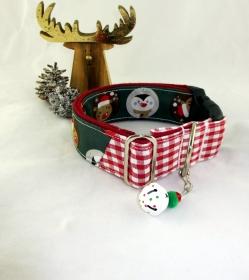 Hundehalsband Cool Friends Halsband in weihnachtlichem Look mit Klickverschluss und Weihnachtsglöckchen Anhänger
