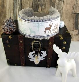 Windhundhalsband Winterwald beige/weiss Zugstopp-Halsband mit weicher Kuschel Fleece Polsterung  und Weihnachtsglöckchen