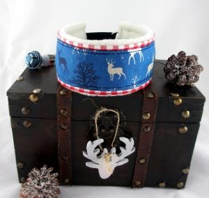 Windhundhalsband Winterwald blau/rot Zugstopp-Halsband mit weicher Kuschel Fleece Polsterung  und Weihnachtsglöckchen