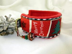 Windhundhalsband Merry Christmas Zugstopp-Halsband mit weicher Fleece Polsterung  und Weihnachtsglöckchen