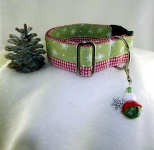 Hundehalsband Schnee-Karos Halsband im coolen Winter Mustermix mit Klickverschluss