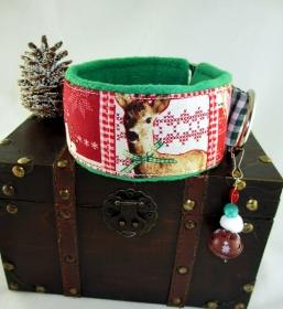 Windhundhalsband Landlust grün Zugstopp-Halsband mit weicher Fleece Polsterung  und Weihnachtsglöckchen