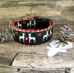 Hundehalsband Wintermärchen Halsband handgefertigt breit und verstellbar Weihnachtshalsband wahlweise Zugstopp oder Klickverschluss Kunststoff oder Metall - Handarbeit kaufen