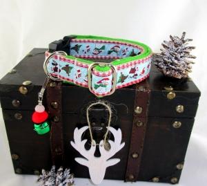 Hundehalsband Frosty Halsband in weihnachtlichem Look mit Klickverschluss und Weihnachtsglöckchen Anhänger  (Kopie id: 100128282)