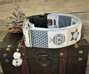 Hundehalsband Winter-Eulen blau Halsband verstellbar wahlweise Zugstopp Verschluss oder Klickverschluss Kunststoff oder Metall gepolstert Polsterung aus Kunstleder - Handarbeit kaufen