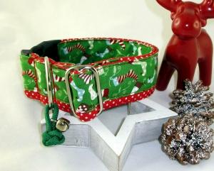 Hundehalsband Nikolausstiefelchen Halsband Hund verstellbar wahlweise Zugstopp oder Klickverschluss Kunststoff oder Metall Verschluss  - Handarbeit kaufen