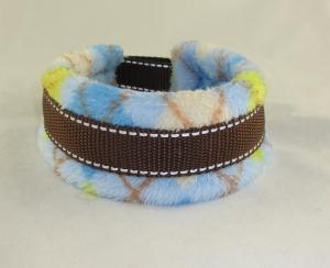 Hundehalsband Norweger Halsband wärmend, reflektierend mit weicher Fleece Polsterung wahlweise Klickverschluss Kunststoff oder Metall oder  Zugstopp Verschluss  - Handarbeit kaufen