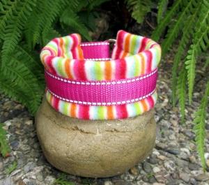 Hundehalsband Cool Stripes Halsband wärmend, reflektierend mit weicher Fleece Polsterung und Zugstopp
