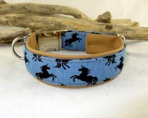 Hundehalsband Unicorns Halsband mit Klickverschluss Metallverschluss wahlweise Kunststoffverschluss und Polsterung gepolstert mit Kunstleder