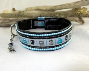 Hundehalsband Monsterparty türkis/schwarz Halsband mit Klickverschluss Kunststoffverschluss wahlweise Metallverschluss oder Zugstopp gepolstert Polsterung Kunstleder verstellbar