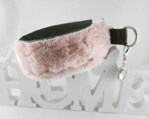 Windhundhalsband Flamingo Hundehalsband Halsband Windhund benäht mit Kunstfell Zugstopp  wahlweise Klickverschluss Kunststoff oder Metall gepolsert Poslterung Kunstleder