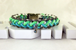 Hundehalsband Crossover Colours aqua geflochten aus Paracord Halsband Flechthalsband mit Klickverschluss Metallverschluss wahlweise Zugstopp  - Handarbeit kaufen