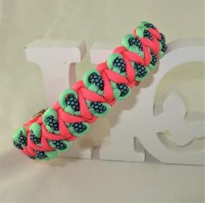 Hundehalsband Drachenzahn koralle/mint/petrol Paracord Halsband geflochten Flechthalsband mit Klickverschluss Metallverschluss wahlweise Zugstopp Halsband aus Paracord  - Handarbeit kaufen