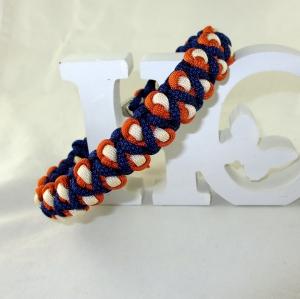 Hundehalsband Drachenzahn dunkelblau/orange/creme geflochten Flechthalsband mit Klickverschluss Metallverschluss wahlweise Zugstopp Halsband aus Paracord