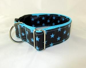 Hundehalsband Blue Star Halsband Hund abwischbar abwaschbar mit Klickverschluss Metall oder Kunststoff Verschluss wahlweise Zugstopp verstellbar