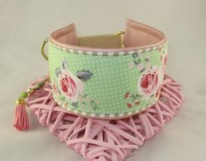 Windhundhalsband Mein Rosengarten Hundehalsband Nylonhalsband Zugstopp Verschluss wahlweise Klickverschluss Metall oder Kunststoff mit handgefertigtem Schmuckanhäger