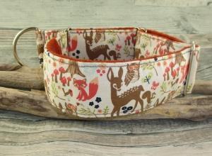 Hundehalsband Waldfreunde/weiss Halsband Hund Nylon Martingale mit Zugstopp verstellbar breit weich gepolstert mit Fleece Polsterung