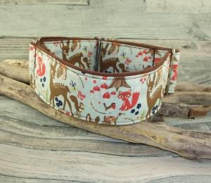 Hundehalsband Waldfreunde/türkis Halsband Hund Nylon Martingale mit Zugstopp verstellbar breit weich gepolstert mit Polsterung  aus Wildlederimitat Stoff