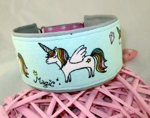 Windhundhalsband Little Rainbow Pony Hundehalsband Halsband Windhund Podenco Galgo Zugstopp Verschluss gepolstert mit einer hochwertigen Kunstleder Polsterung Breite 6 cm   - Handarbeit kaufen