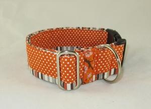 Hundehalsband Dots an Stripes orange Patchwork Halsband Nylonhalsband mit Klickverschluss Metall oder Kunststoff Verschluss wahlweise Zugstopp Verschluss verstellbar  - Handarbeit kaufen