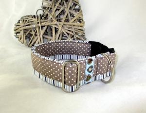 Hundehalsband Dots an Stripes/beige Patchwork Halsband Nylonhalsband mit Klickverschluss Metall oder Kunststoff Verschluss wahlweise Zugstopp Verschluss verstellbar  - Handarbeit kaufen