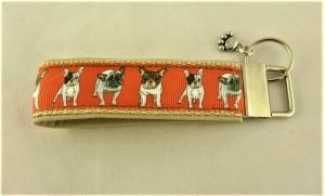 Schlüsselanhänger Bulldogge Anhänger Band für Schlüssel Schlüsselband Nylonband mit Schlüsselring unterlegt mit Kunstleder für Männer für Frauen für Autoschlüssel  - Handarbeit kaufen