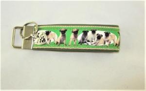 Schlüsselanhänger Mops Anhänger Band Nylonband für Schlüssel Schlüsselband mit Schlüsselring für Hundefreunde für Männer und Frauen oder für Autoschlüssel   unterlegt mit Kunstlede - Handarbeit kaufen