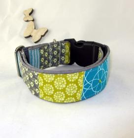Hundehalsband Geometric Halsband Hund Nylon Klickverschluss Kunststoffverschluss oder Metallverschluss wahlweise Zugstopp verstellbar breit   - Handarbeit kaufen