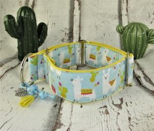 Hundehalsband Lama Halsband Hund Nylon Martingale mit Zugstopp verstellbar breit wahlweise mit Klickverschluss Kunststoff oder Metall - Handarbeit kaufen