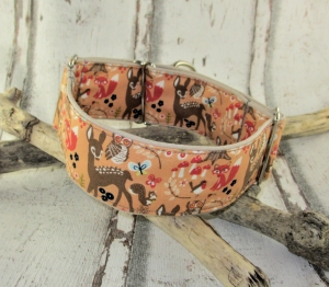 Hundehalsband Waldfreunde/apricot Martingale Halsband verstellbar breit Zugstopphalsband oder Klickverschlusshalsband Metallverschluss oder Kunststoffverschluss