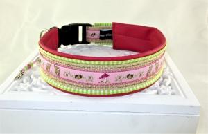 Hundehalsband Fairytale pink/grün Halsband mit Klickverschluss Kunststoffverschluss oder Metallverschluss wahlweise mit Zugstopp und gepolstert Kunstleder - Handarbeit kaufen