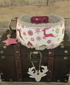 Windhundhalsband Weihnachtszauber beige/weinrot Halsband Hundehalsband wahlweise Zugstopp Verschluss odere Klickverschluss Kunststoff oder Metall weich gepolstert Fleece Polsterung - Handarbeit kaufen