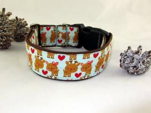 Hundehalsband Lovely Deer Halsband Weihnachten handgemacht handmade verstellbar wahlweise Zugstopp Verschluss oder Klickverschluss Kunststoff oder Metall