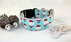 Hundehalsband Nikolaus türkis Halsband Weihnachten handgemacht handmade verstellbar wahlweise Zugstopp Verschluss oder Klickverschluss Kunststoff oder Metall