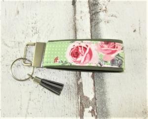 Schlüsselanhänger Rosengarten Anhänger für Schlüssel Nylonband Schlüsselband mit Schlüsselring unterlegt mit Kunstleder für Männer oder Frauen   - Handarbeit kaufen