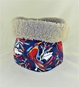 Hundeloop Paradiesvogel Hundeschal Bandana Loop Schal für Hunde weich wärmend  gepolstert mit Polsterung aus Teddy Fleece