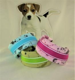 Hundehalsband Splish Splash Halsband wärmend reflektierend mit Reflektoren Zugstopp wahlweise Klickverschluss weiche Fleece Polsterung - Handarbeit kaufen