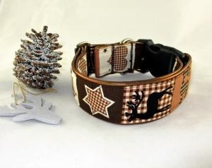 Hundehalsband Winter Dreams Halsband Weihnachten handgemacht handmade verstellbar wahlweise Zugstopp Verschluss oder Klickverschluss Kunststoff oder Metall