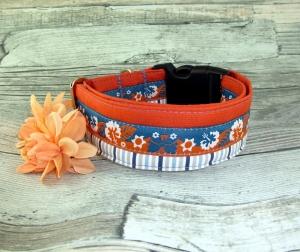 Hundehalsband Hawaii orange/blau Halsband verstellbar mit Klickverschluss Kunststoff Breite 4 cm  - Handarbeit kaufen