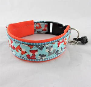 Hundehalsband Füchslein schlau Halsband verstellbar mit Klickverschluss Kunststoffverschluss gepolstert mit Kunstleder - Handarbeit kaufen