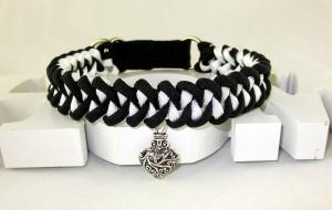 Halsband Black and White geflochten Flechthalsband Hundehalsband aus Paracord mit Zugstopp Verschluss  - Handarbeit kaufen