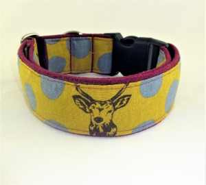 Hundehalsband Hirsch curry/weinrot Halsband Hund verstellbar mit Klickverschluss Kunststoffverschluss