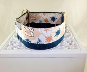 Hundehalsband Flora Martingale Halsband Patchwork verstellbar breit Zugstopphalsband oder Klickverschlusshalsband Metallverschluss oder Kunststoffverschluss