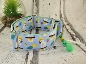 Hundehalsband Cockatoo blau Martingale Halsband  Windhund verstellbar breit Zugstopphalsband oder Klickverschlusshalsband Metallverschluss oder Kunststoffverschluss   - Handarbeit kaufen