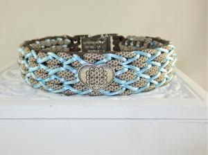 Hundehalsband Herzilein braun/blau alpines Halsband geflochten Flechthalsband aus Paracord wahlweise mit Zugstopp oder Klickverschluss aus Metall oder Kunststoff   - Handarbeit kaufen