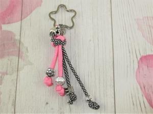 Schlüsselanhänger aus Paracord Anhänger für Schlüssel mit Schlüsselring Taschenbaumler Taschenanhänger rosa rockabilly für Frauen für Mädchen Anhänger für Autoschlüssel   - Handarbeit kaufen