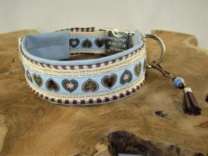 Hundehalsband Hüttengaudi Halsband verstellbar mit Klickverschluss Kunststoffverschluss oder Metallverschluss wahlweise mit Zugstopp und gepolstert Kunstleder  - Handarbeit kaufen